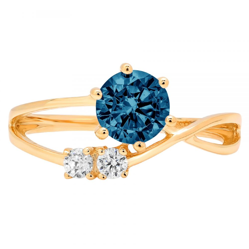 0.85Ct Round 3 Stone Love Natural London Blue Topaz Classic Promise Wedding Engagement Designer Ring Solid 14K Yellow Gold