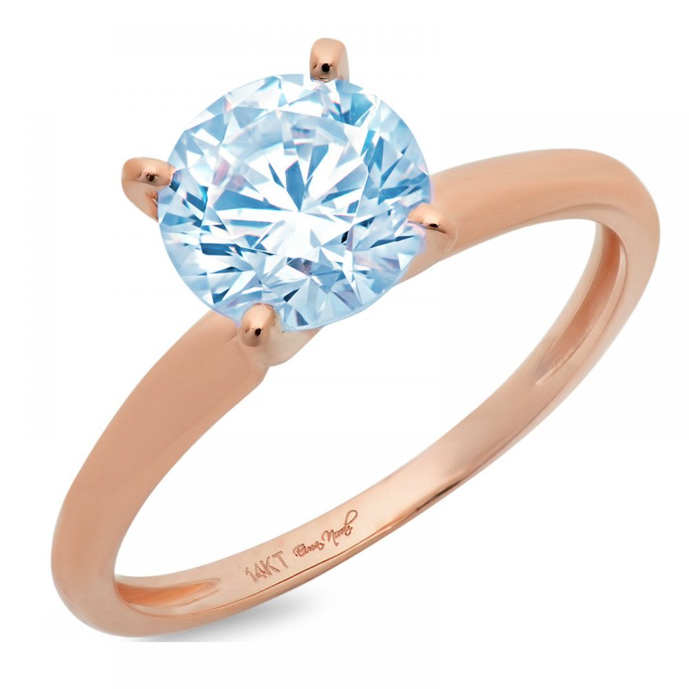 1 Ct Round Cut Natural Sky Blue Topaz Classic Wedding Engagement Bridal Promise Designer Ring Solid 14K Rose Gold