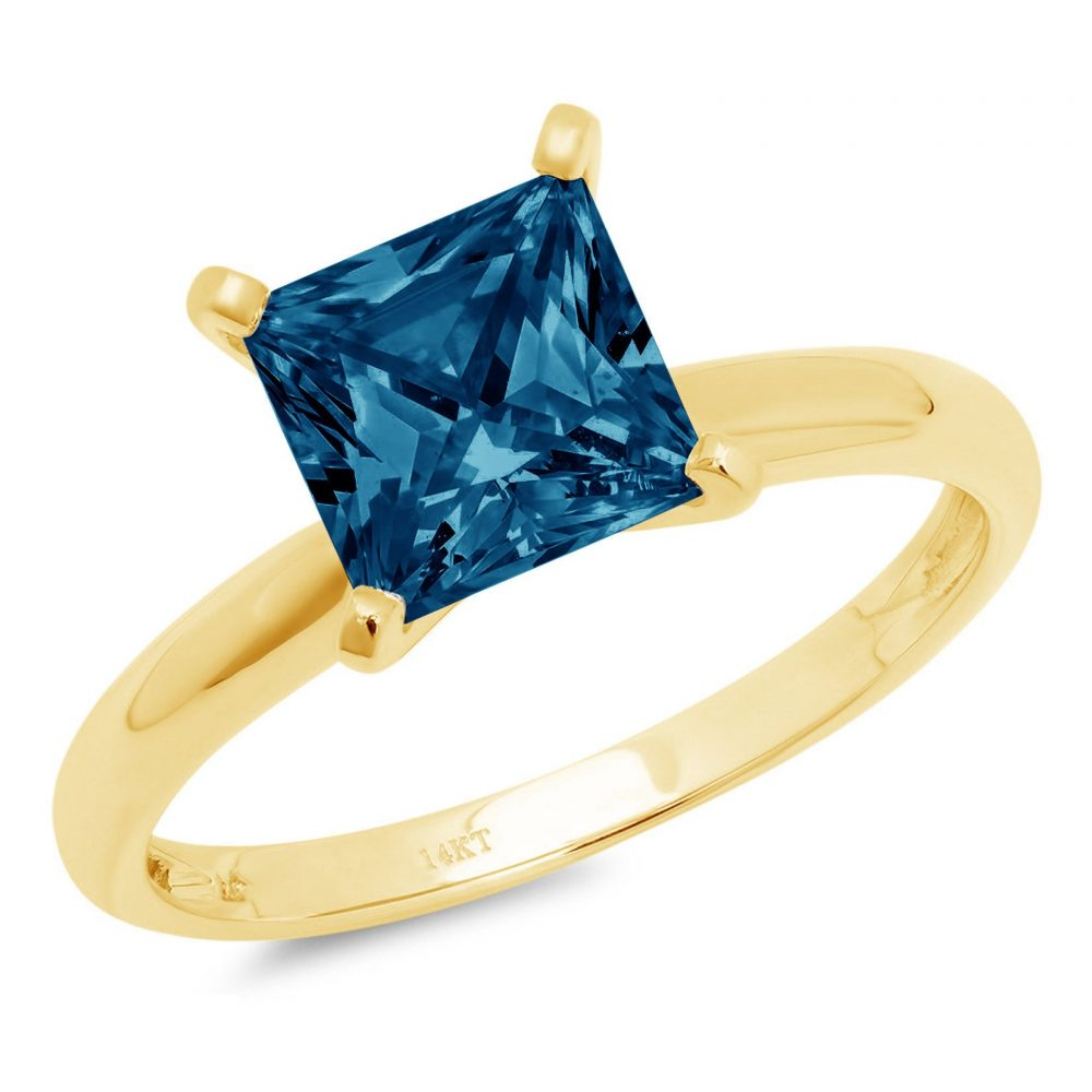 1.0 Ct Princess Cut Natural London Blue Topaz Classic Wedding Engagement Bridal Promise Designer Ring Solid 14K Yellow Gold