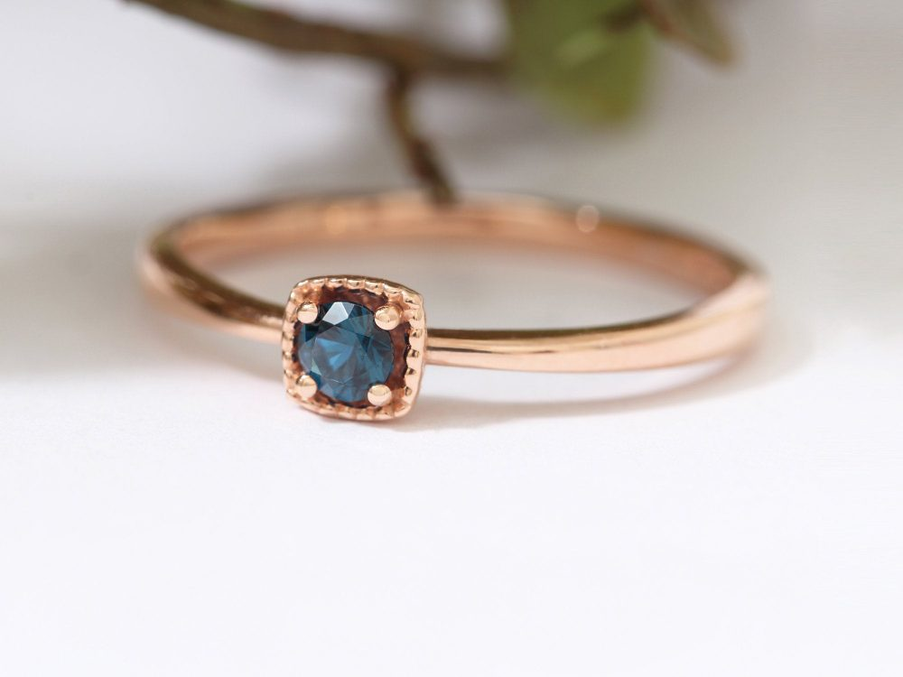 0.1Ct Blue Diamond, Solitaire Ring, 14K Solid Gold Diamond Engagement Sapphire London Topaz Ring