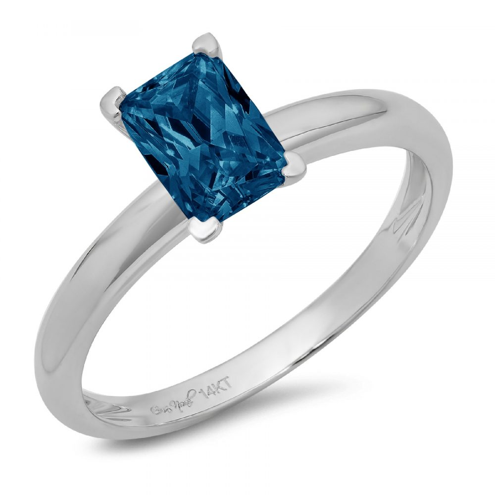 1 Emerald Cut Natural London Blue Topaz Classic Wedding Engagement Bridal Designer Promise Ring Solid 14K White Gold