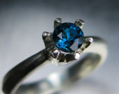 0.40cts Natural London blue Topaz Sterling 925 Silver engagement ring (available in 9ct 14k 18k 375 585 750 yellow white rose gold all sizes