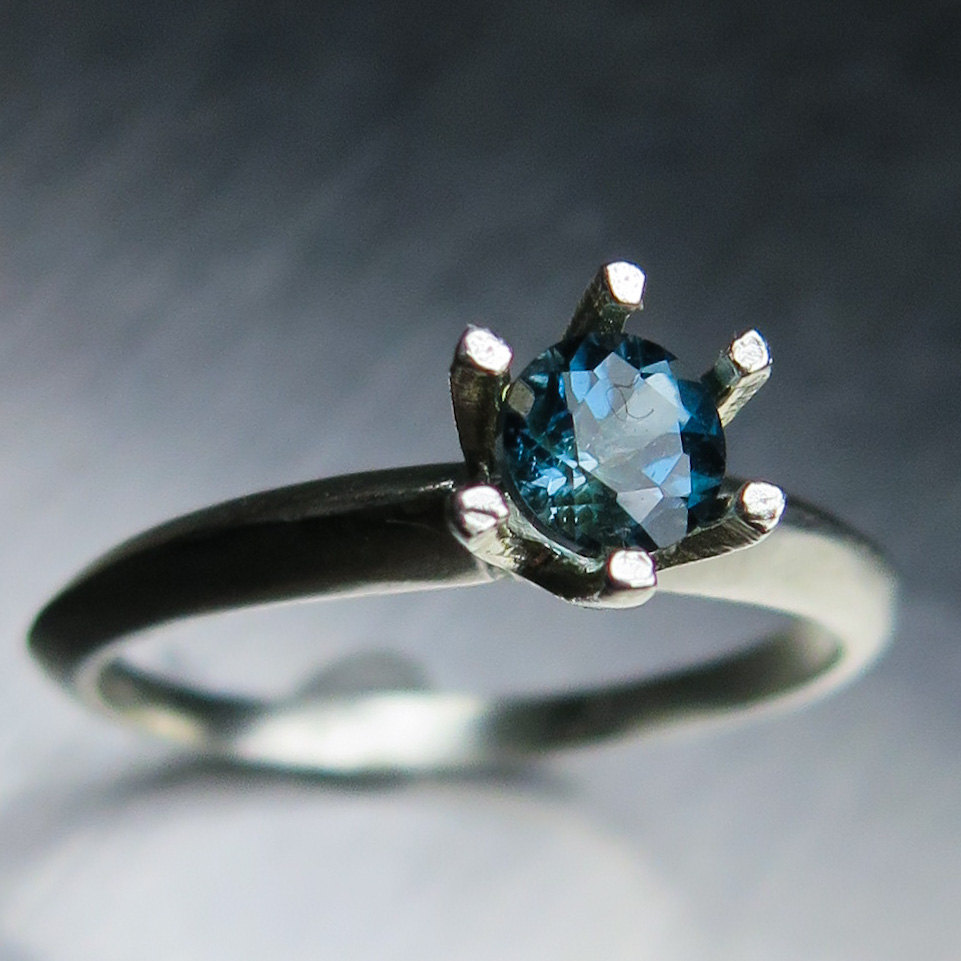 0.40Cts Natural London Blue Topaz Sterling 925 Silver Engagement Ring | Available in 9Ct 14K 18K 375 585 750 Yellow White Rose Gold All Sizes
