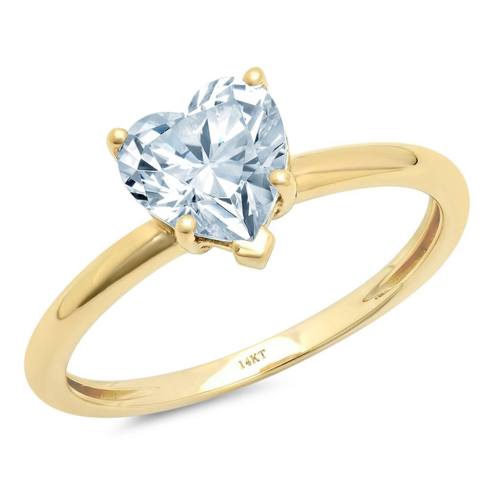 1.0 Ct Heart Cut Natural Sky Blue Topaz Classic Wedding Engagement Bridal Promise Designer Ring Solid 14K Yellow Gold