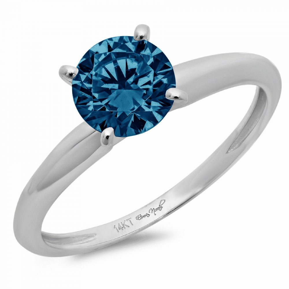 1.0 Ct Round Cut Natural London Blue Topaz Classic Wedding Engagement Bridal Promise Designer Ring Solid 14K White Gold
