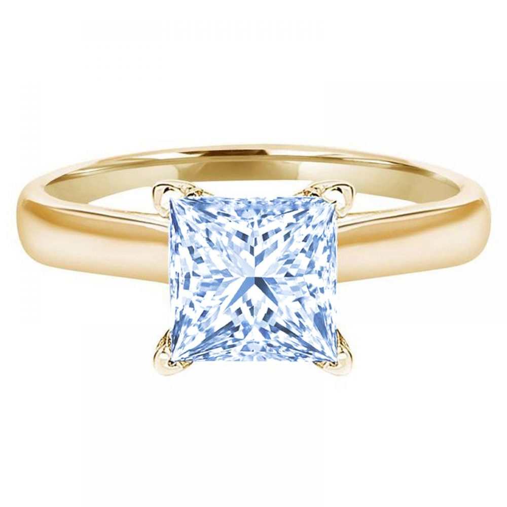 1.0 Ct Princess Cut Natural Sky Blue Topaz Classic Wedding Engagement Bridal Promise Designer Ring Solid 14K Yellow Gold