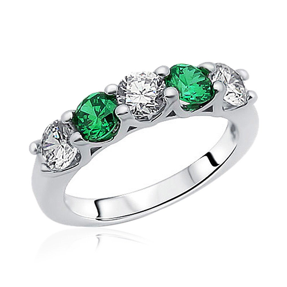 Customizable 3.5mm Rhodium Plated Silver Wedding Ring Cz Five Stone Green Anniversary Band(Luxr2461513