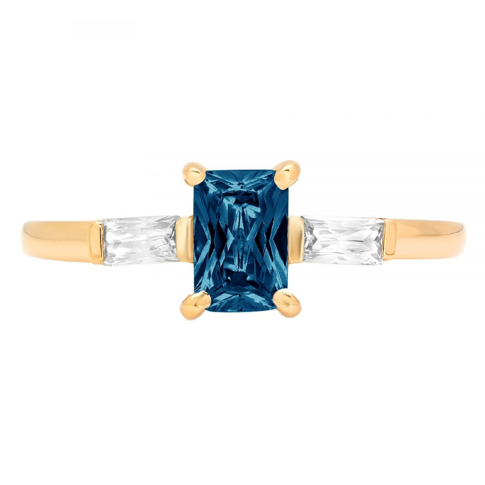 1.05 Emerald 3 Stone Natural London Blue Topaz Promise Bridal Wedding Engagement Classic Designer Ring Solid 14K Yellow Gold