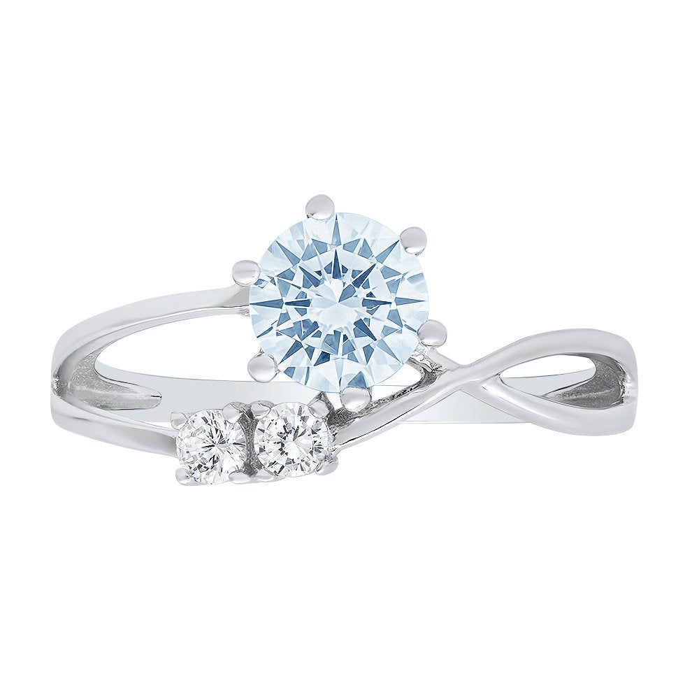 0.85Ct Round 3 Stone Love Sky Blue Topaz Statement Engagement Ring Real 14K White Gold