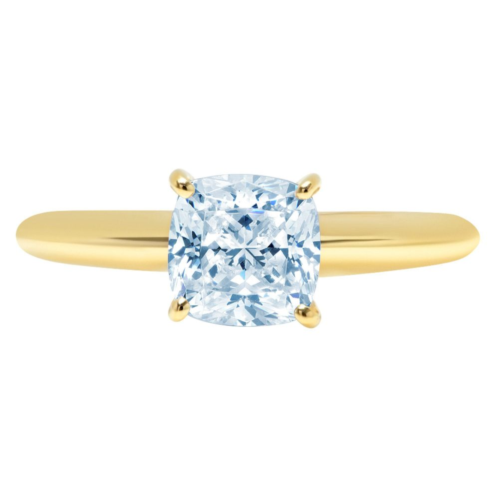 1.0 Ct Cushion Cut Natural Sky Blue Topaz Classic Wedding Engagement Bridal Promise Designer Ring Solid 14K Yellow Gold