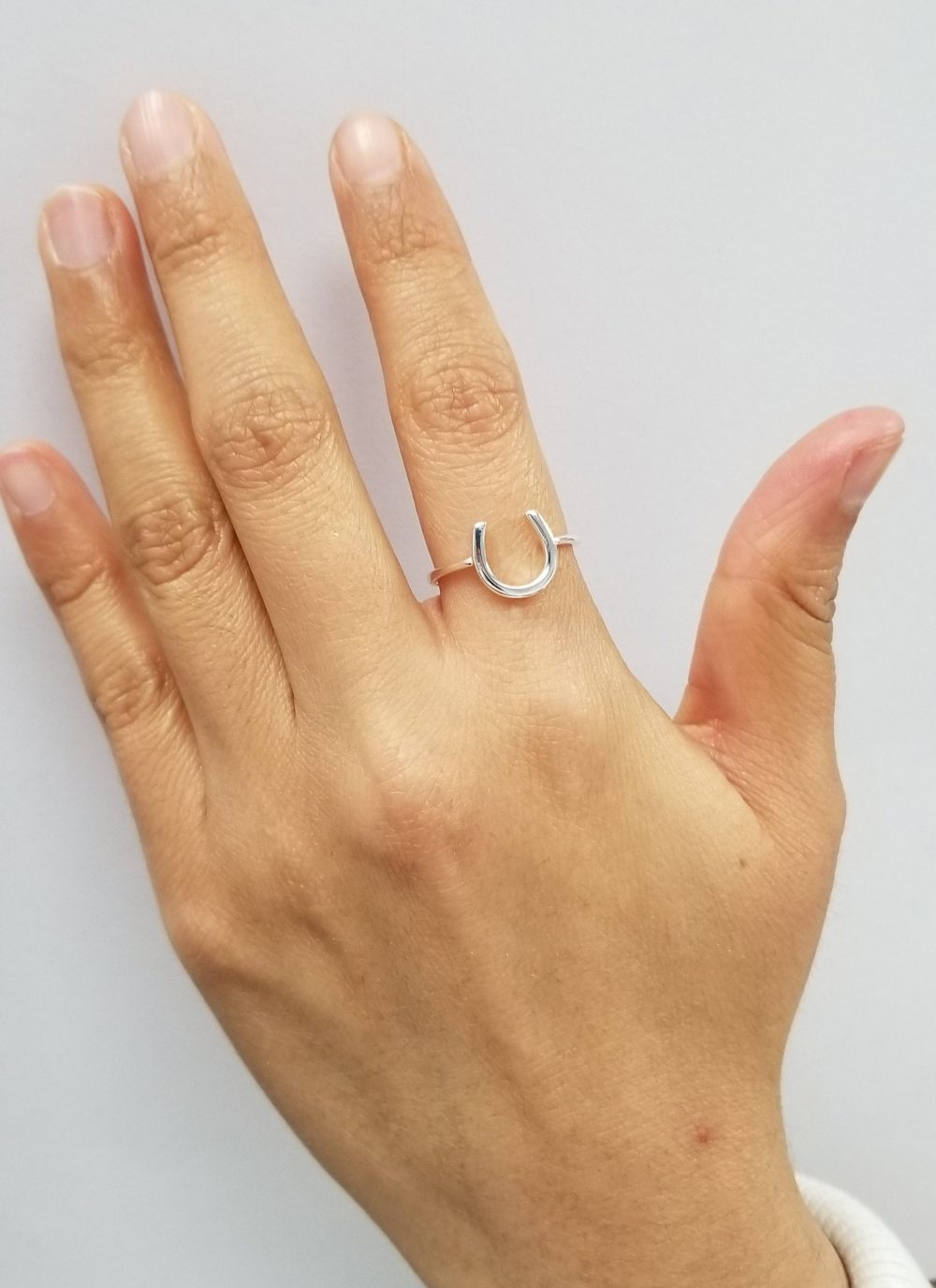 925 Sterling Silver Dainty Good Luck Elephant , Horseshoe Ring
