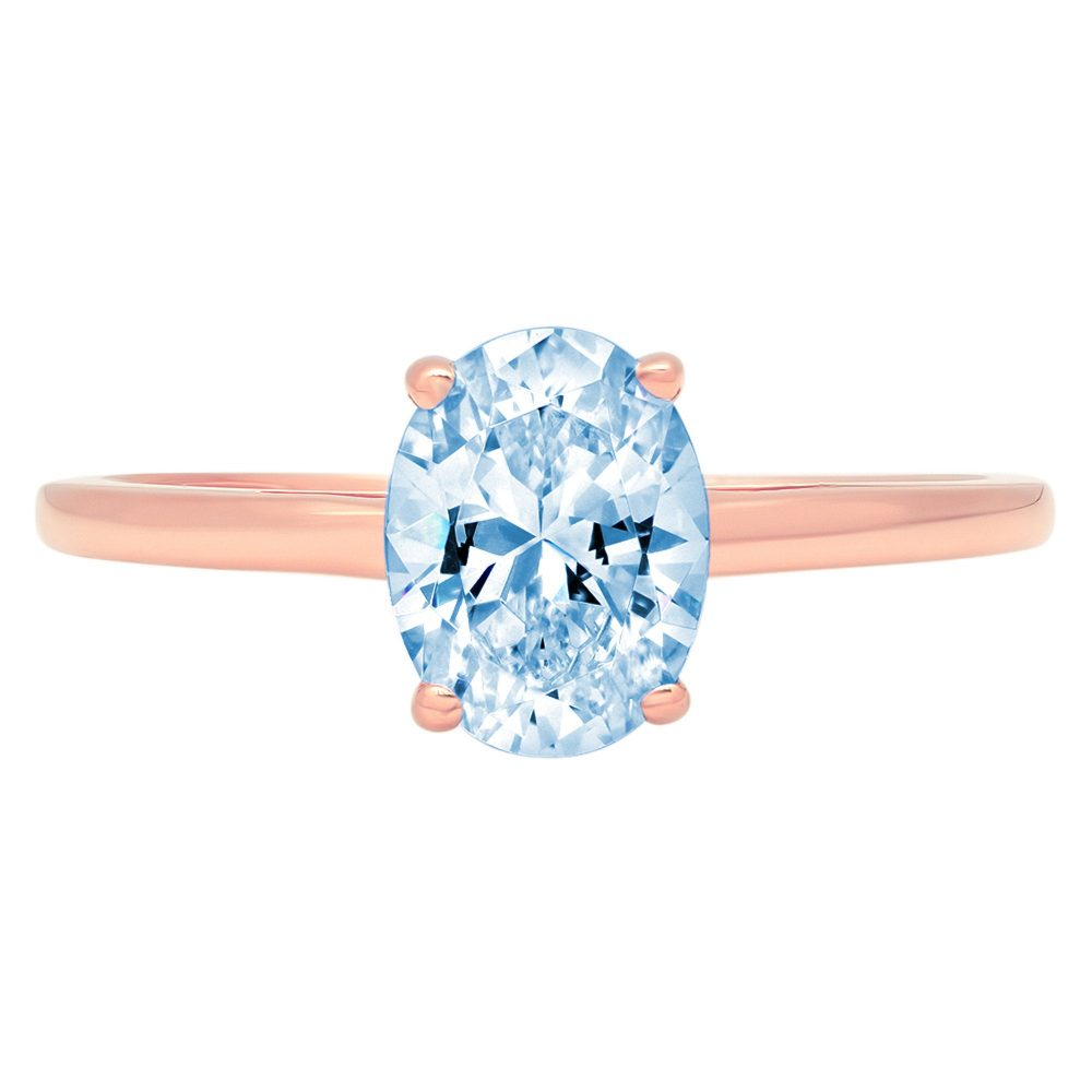 1 Ct Oval Cut Natural Sky Blue Topaz Classic Wedding Engagement Designer Bridal Promise Ring Solid 14K Rose Gold