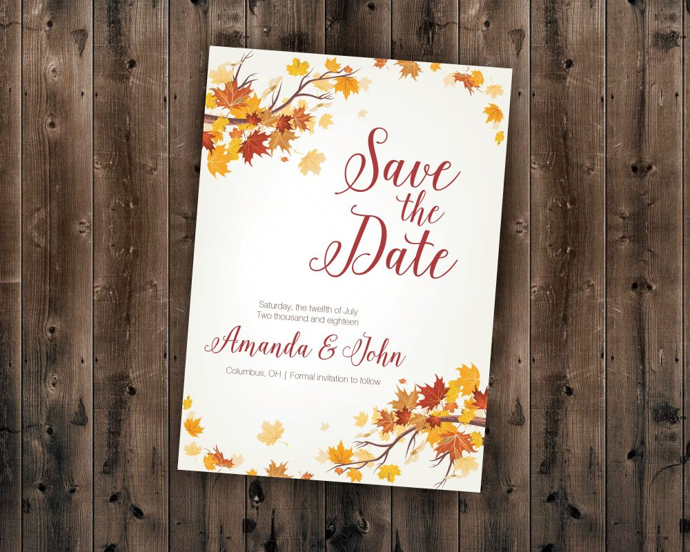 Autumn Save The Date Cards, Fall Postcards, Leaves Wedding Invitations, Woods Rustic Tree, Outdoors, Affordable