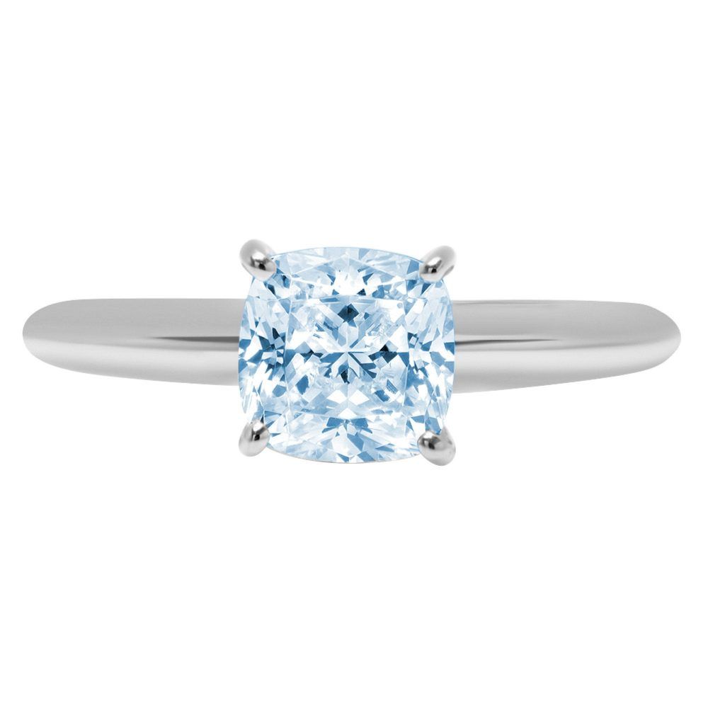 1.0 Ct Cushion Cut Natural Sky Blue Topaz Classic Wedding Engagement Bridal Promise Designer Ring Solid 14K White Gold