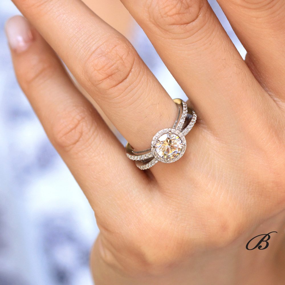 1.68 Cttw Halo Split Shank Engagement Ring Cross Over Band Bridal Wedding Anniversary [1552]