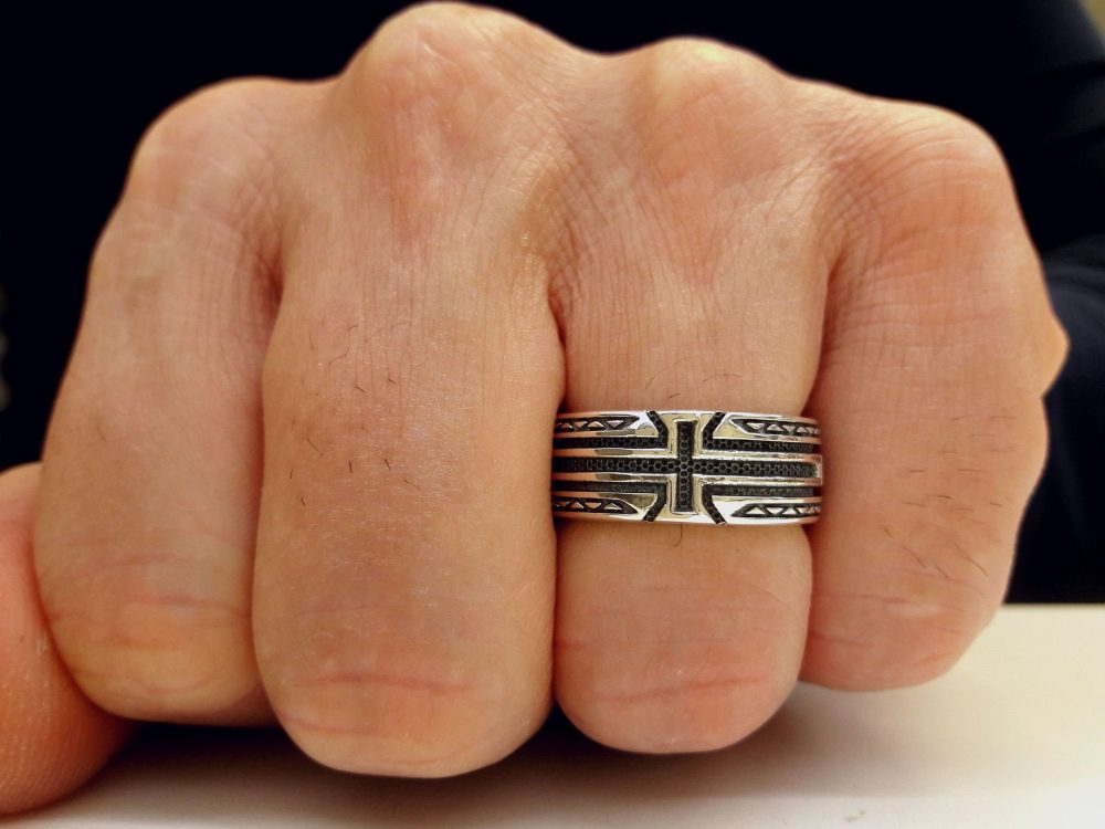 Cross, Engraved, Band, Ring, Sterling, Silver, 925, Personalized, Wedding, Unisex, Jewelry, Religious, Gothic, Celtic