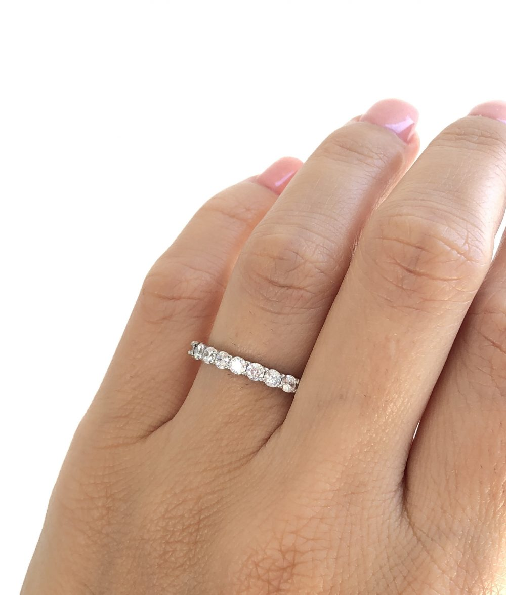 Sterling Silver Eternity Band. Wedding 3mm Stackable Stacking Ring. Fine Cz Band Classic