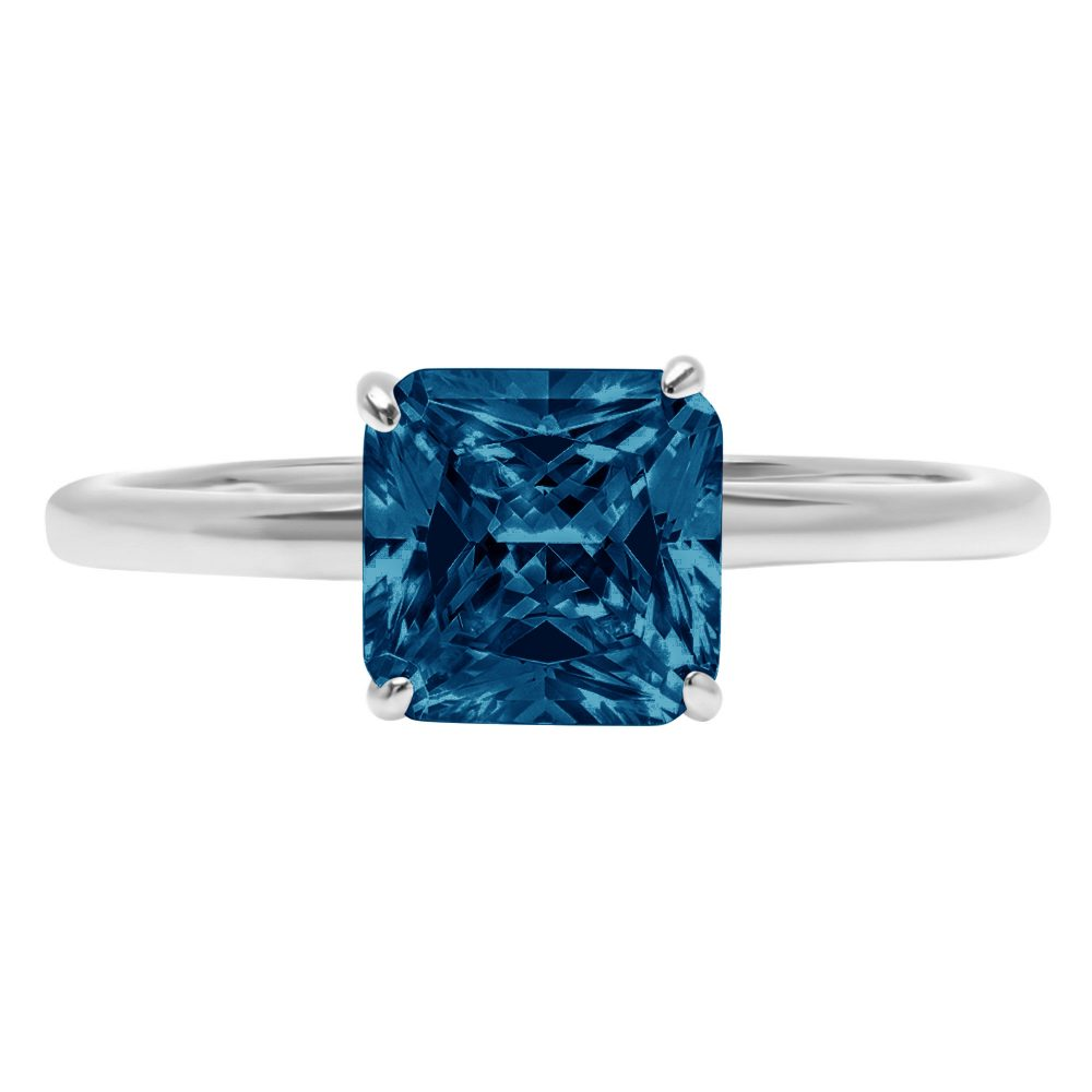 1.0 Ct Asscher Cut Natural London Blue Topaz Classic Wedding Engagement Bridal Promise Designer Ring Solid 14K White Gold