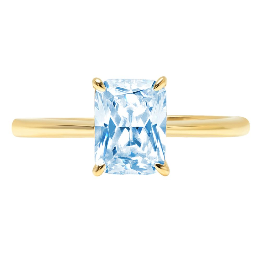 1.0 Ct Radiant Cut Natural Sky Blue Topaz Classic Wedding Engagement Bridal Promise Designer Ring Solid 14K Yellow Gold