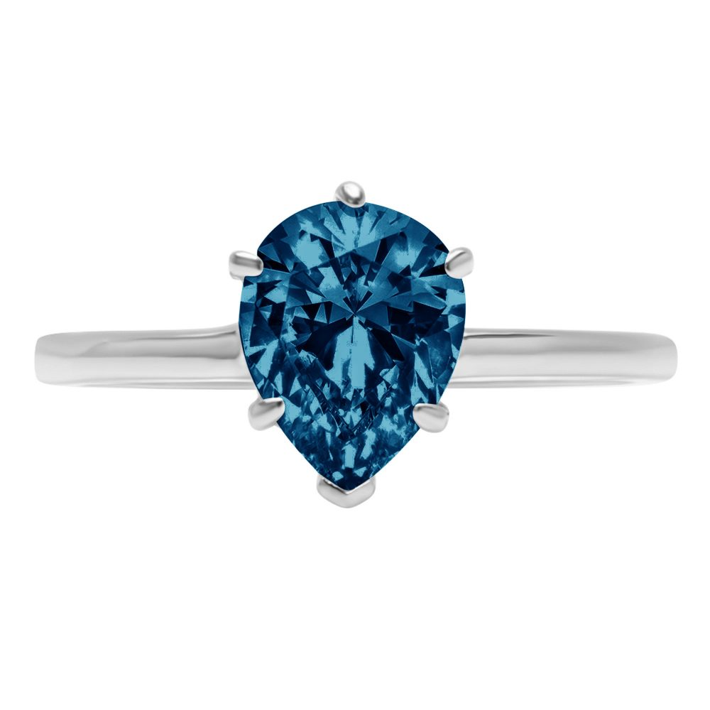1 Ct Pear Cut Natural London Blue Topaz Classic Wedding Engagement Bridal Promise Designer Ring Solid 14K White Gold