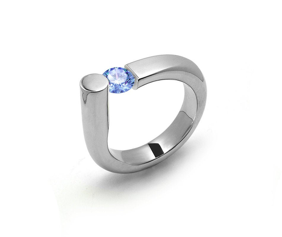 0.75 Blue Topaz Ring Tension Set in Stainless Steel