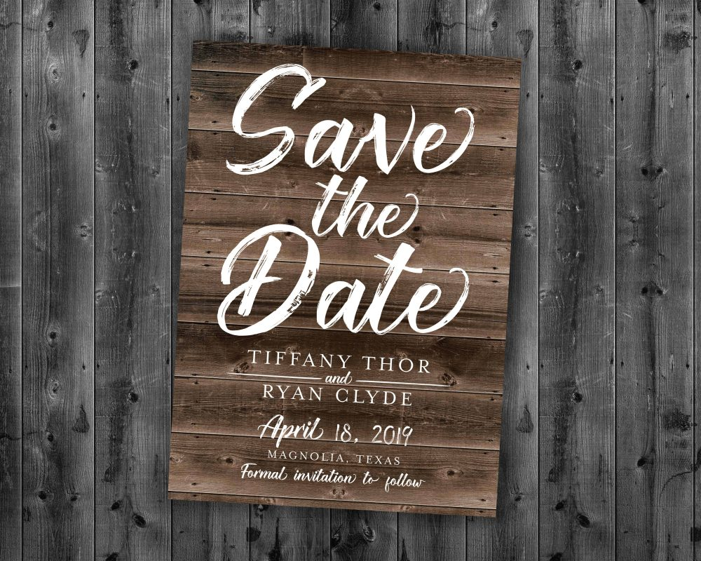 Rustic Save The Date Cards, The Postcard, Wood, Country Date, Engagement Card, Wedding Card