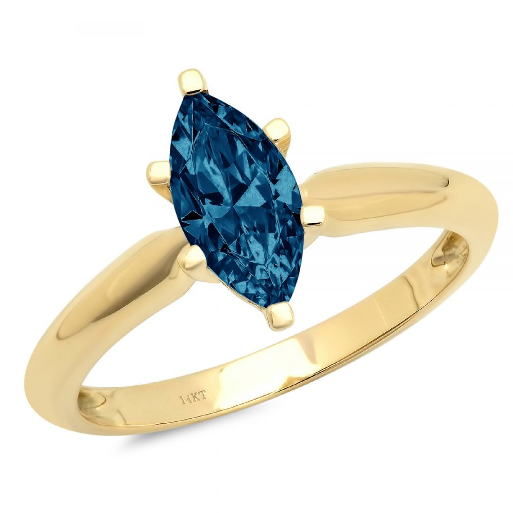 1.0 Ct Marquise Cut Natural London Blue Topaz Classic Wedding Engagement Bridal Promise Designer Ring Solid 14K Yellow Gold