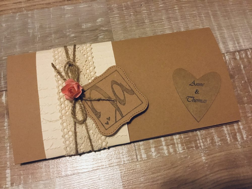 15 Piece Invitation Wedding Vintage Boho Kraft Paper Craft