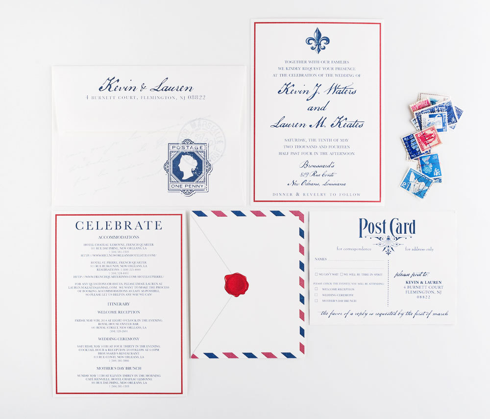 Airmail Travel Wedding Invitation - Transcontinental Theme Wedding - Destination Vintage Invitation