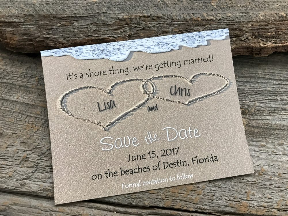 Beach Save The Date, Sand Date, Destination Save Date, Heart Wedding Date, Heart in Sand