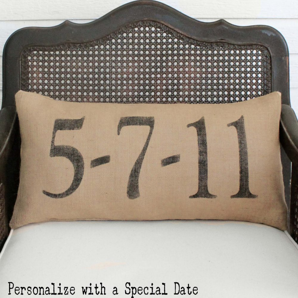 Remember The Day - Burlap Pillow Personalize With A Special Date in Your Life Save Date Anniversary Wedding
