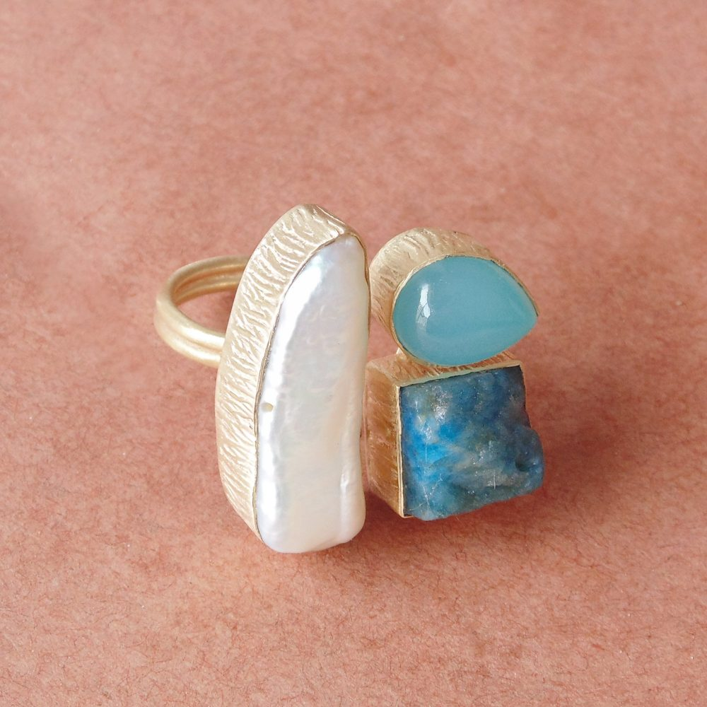 Handmade Pearl Ring, Blue Chalcedony Unique Stone Apatite Multi Dainty Family Birthstone Ring