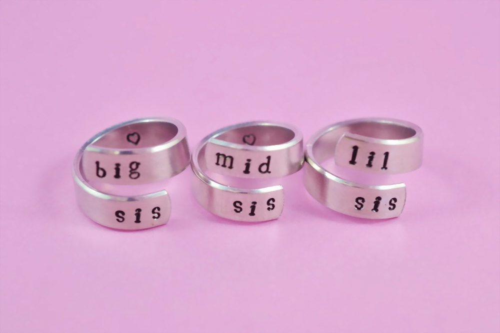 Big Sis Mid Lil Three Sisters Ring Set, Middle Little Sister Rings, Sorority Gifts, Hand Stamped Jewelry