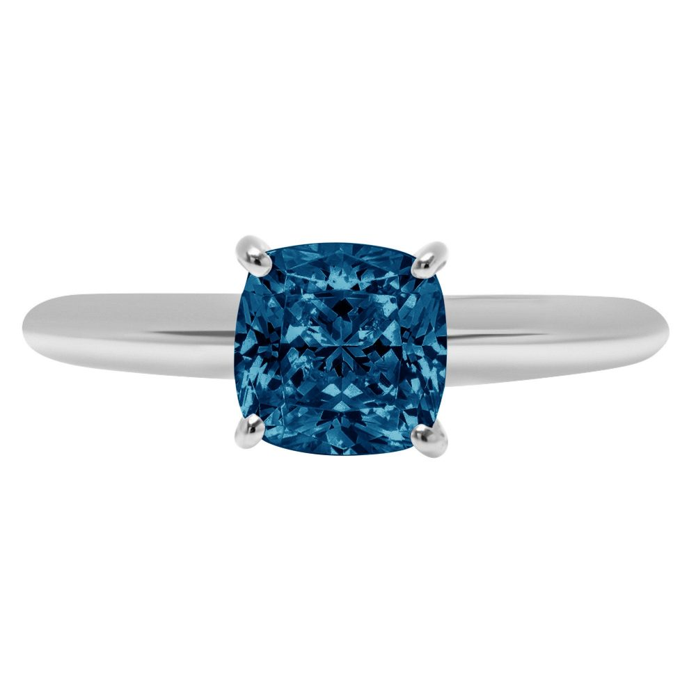 1.0 Ct Cushion Cut Natural London Blue Topaz Classic Wedding Engagement Bridal Promise Designer Ring Solid 14K White Gold