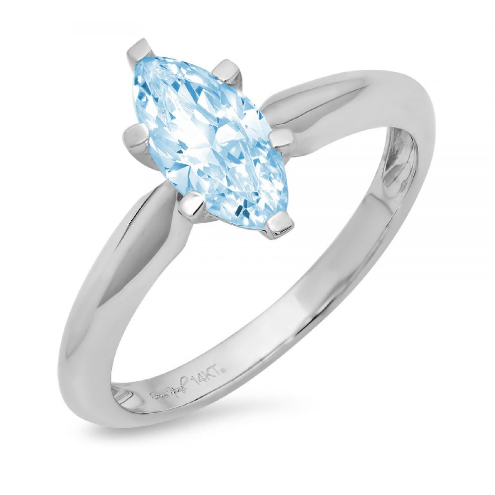 1.0 Ct Marquise Cut Natural Sky Blue Topaz Classic Wedding Engagement Bridal Promise Designer Ring Solid 14K White Gold