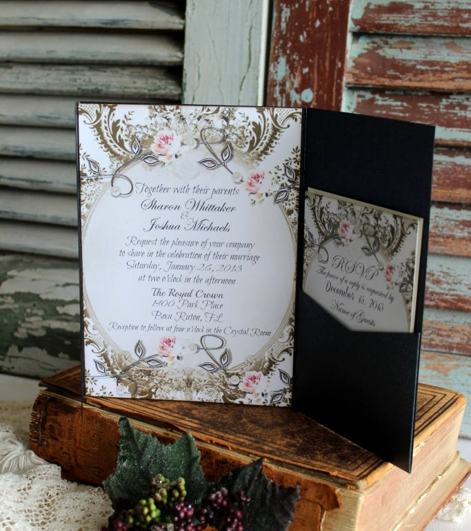 Onyx Pocketfold Wedding Invitation - Vintage Invitations Romantic Elegant Weddings Handmade By Avintageobsession On Etsy