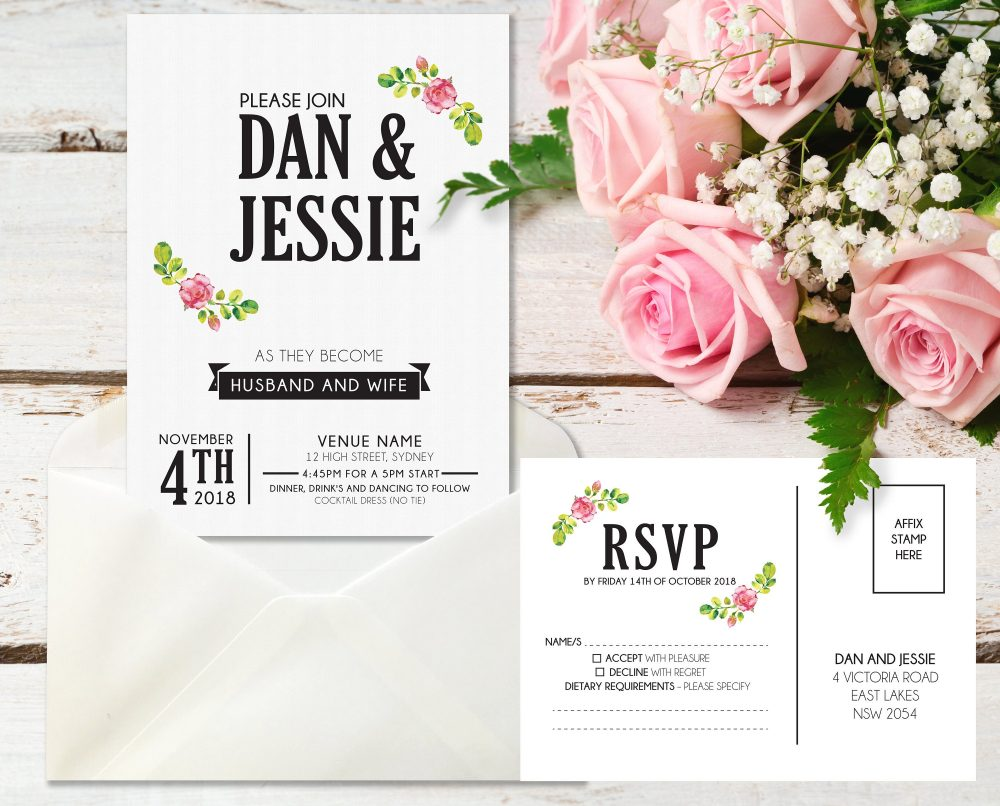 Printed Wedding Premium Paper Floral Vintage Invite, Wedding Stationery, Flower Black Save The Date Design