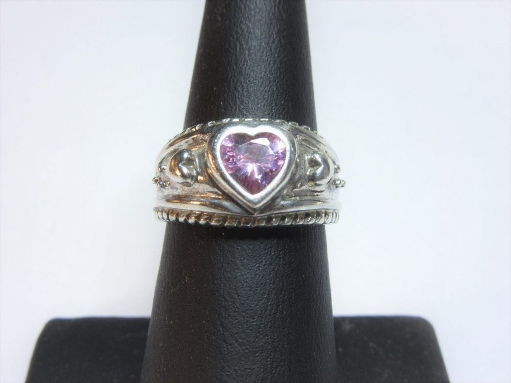 Vintage Avon Sterling Pink Heart Ring Size 6