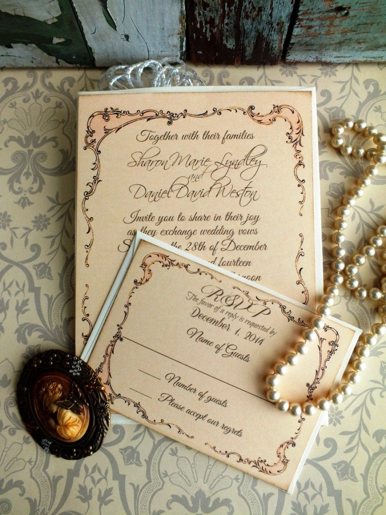 Wedding Invitations - Vintage Invitation Peach Background Elegant Romantic Handmade By Avintageobsession On Etsy