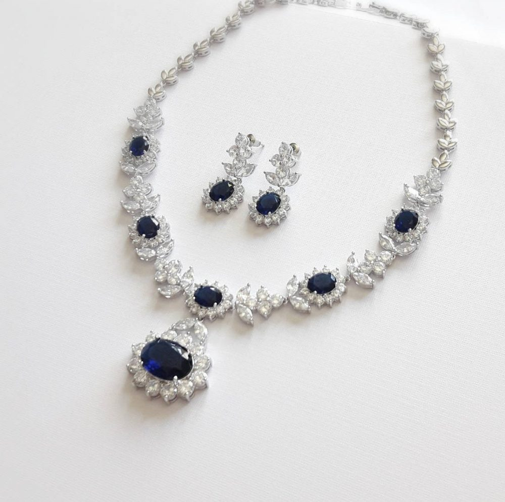 Blue Sapphire Bridal Crystal Jewelry Set, Vintage Inspired Wedding Cz Necklace Bracelet Mother Of The Bride Drop Earrings &
