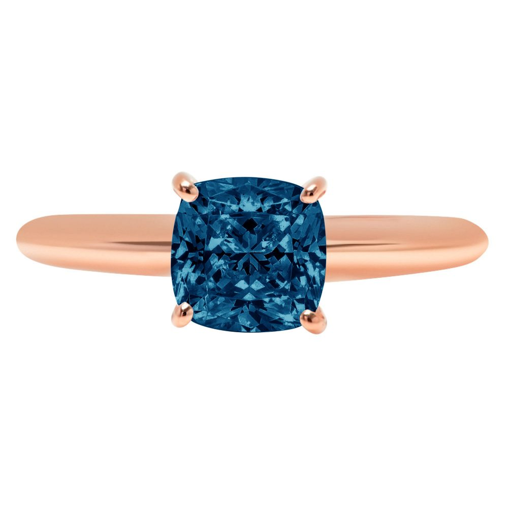 1.0 Ct Cushion Cut Natural London Blue Topaz Classic Wedding Engagement Bridal Promise Designer Ring Solid 14K Rose Gold