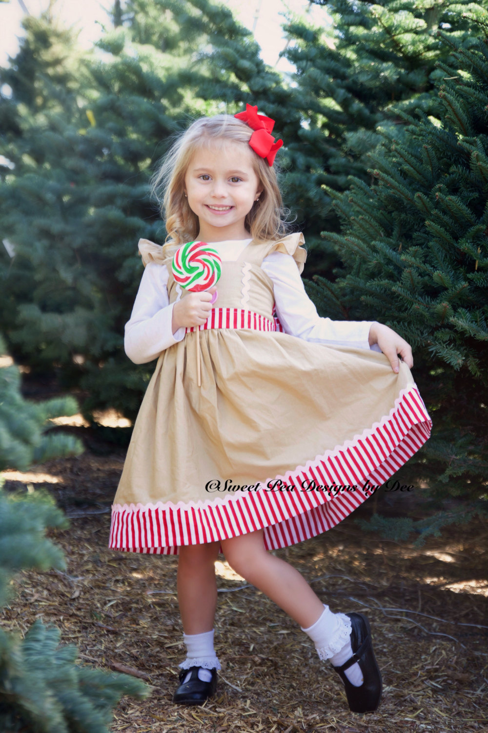 Girls Gingerbread Dress, Girls Christmas Holiday Twirl Dress, Baby Gingerbread Red Stripe Toddler