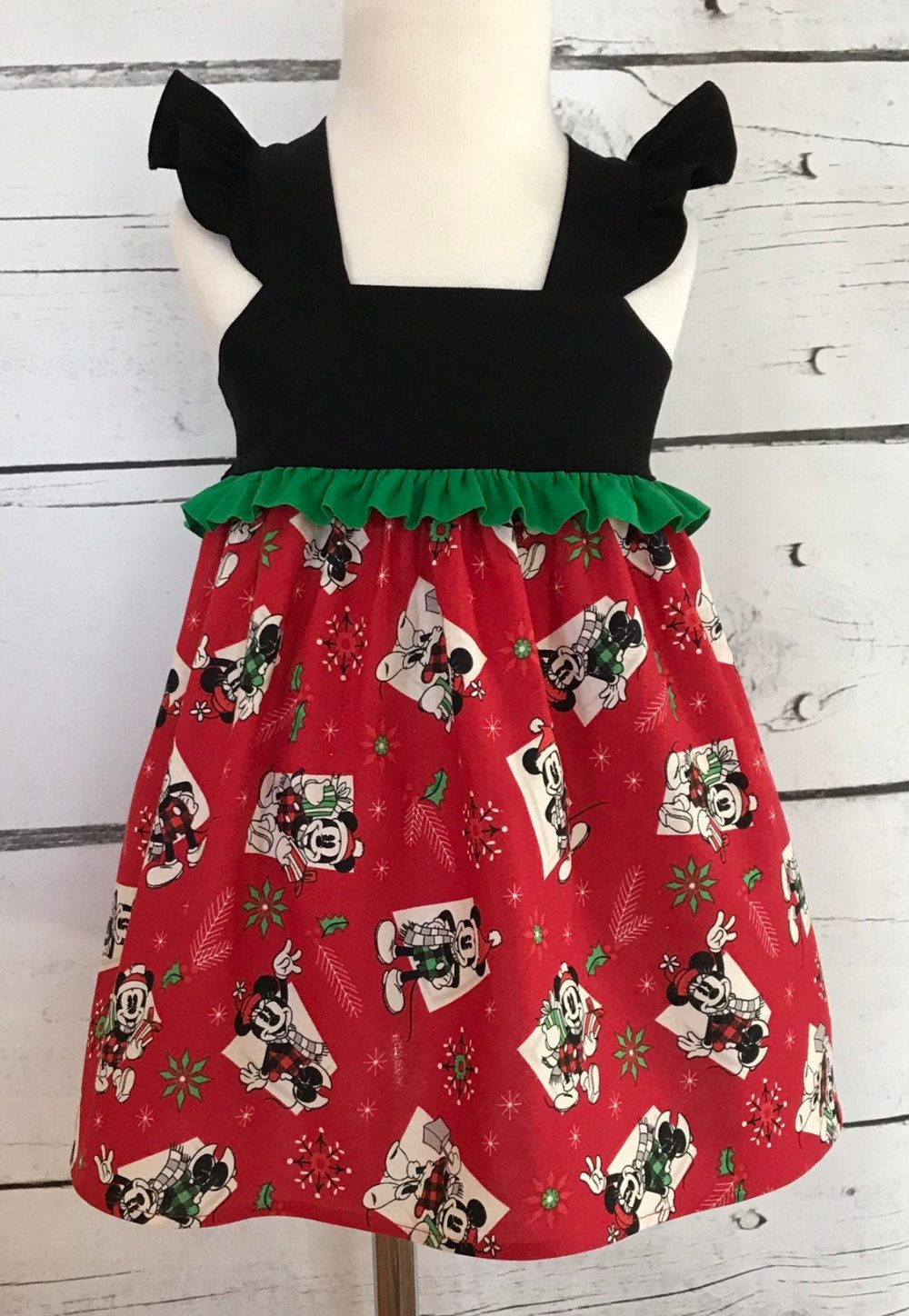 Mickey & Minnie Mouse Christmas Dress, Disney Style Baby Little Girls Holiday Party Toddler Dress