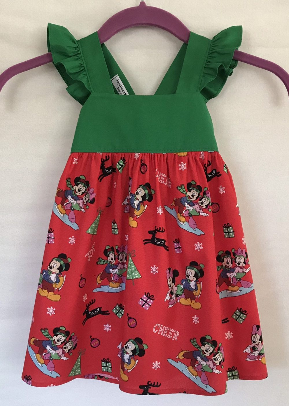 Mickey & Minnie Christmas Dress, Disney Style Baby Little Girls Holiday Party Toddler Dress