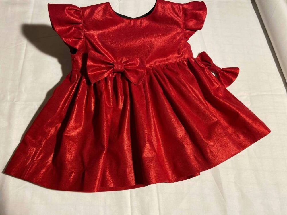 Valentine Dress Red Shimmery Baby Toddler Girl Party Christmas Holiday Photos Flutter Sleeve Or Sleeveless Babycutebaby.etsy.com