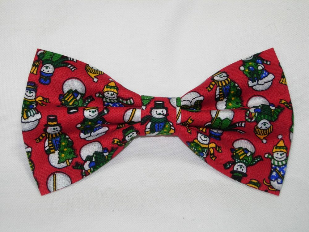 Christmas Bow Tie | Dressed Up Snowmen On Holiday Red Pre-Tied Tie Party Ties For Men Boy Bow Girls Hair