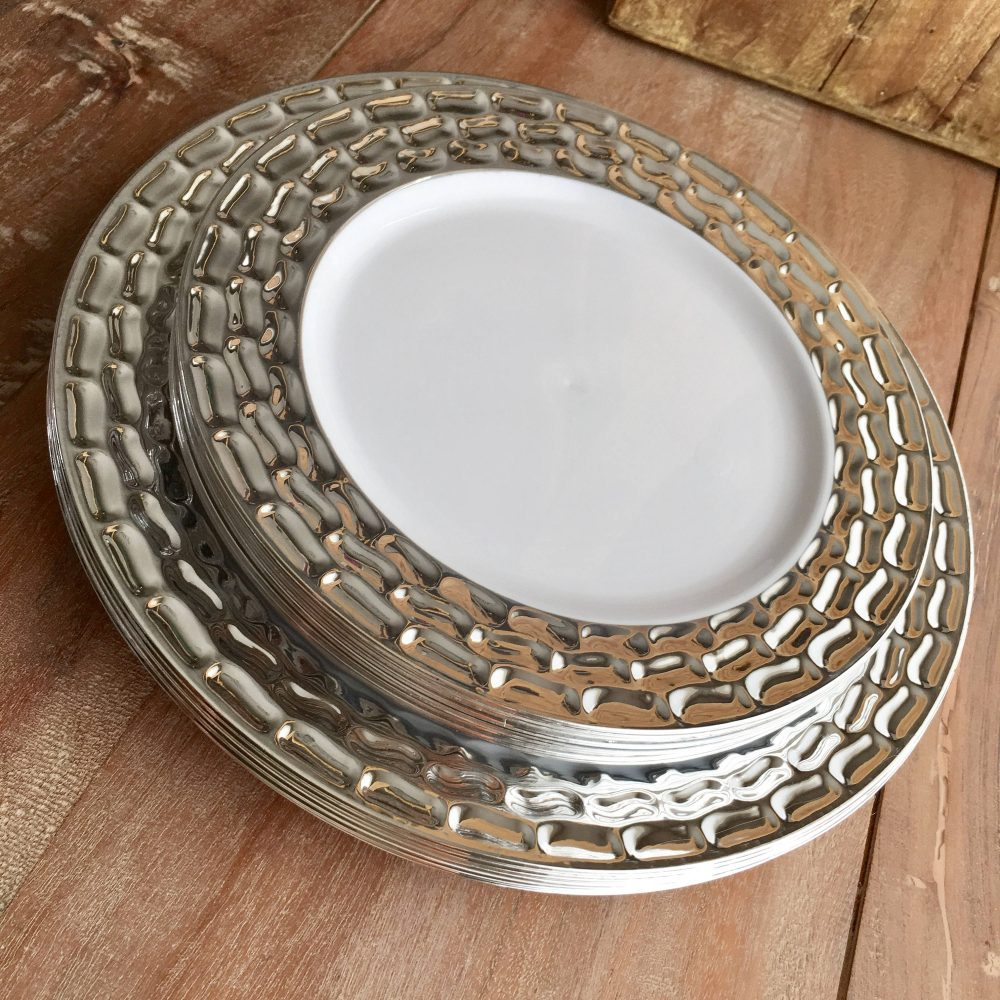 Modern White & Silver Party Plates. Disposable Wedding Buffet Mod Mercury Plate Collection