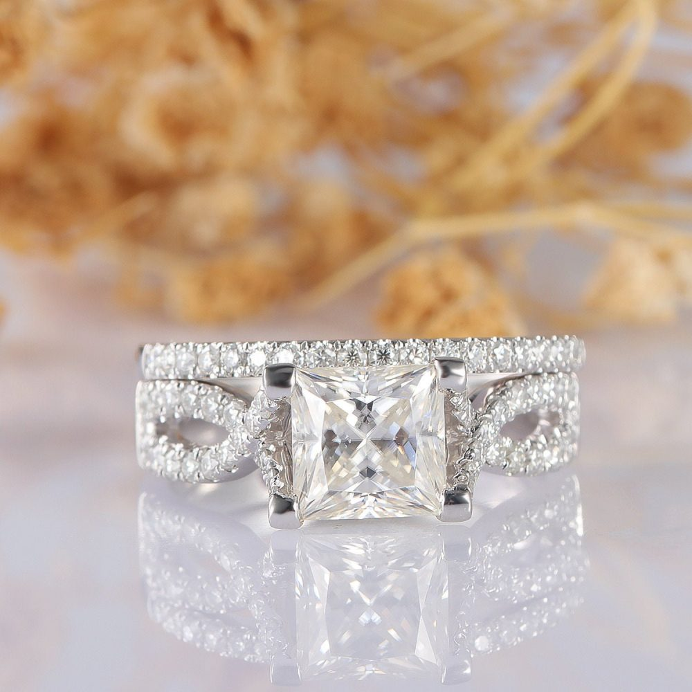 Moissanite Wedding Set, Cross Band Princess Cut 6.5mm 14K White Gold Accents Engagement Ring, Bridal Stackable Ring