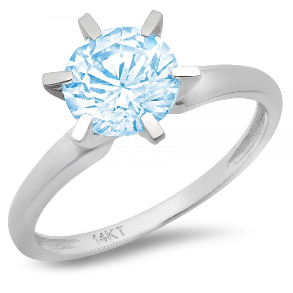 0.50 Ct Round Cut Natural Sky Blue Topaz Classic Wedding Engagement Bridal Promise Designer Statement Ring Solid 14K White Gold