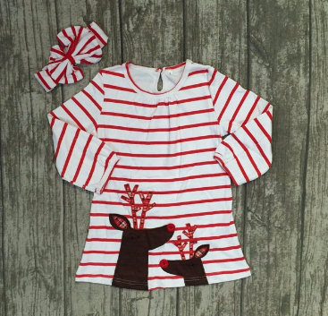 Girls Christmas Boutique Dress Party Stripe Girls Reindeer Long Sleeve
